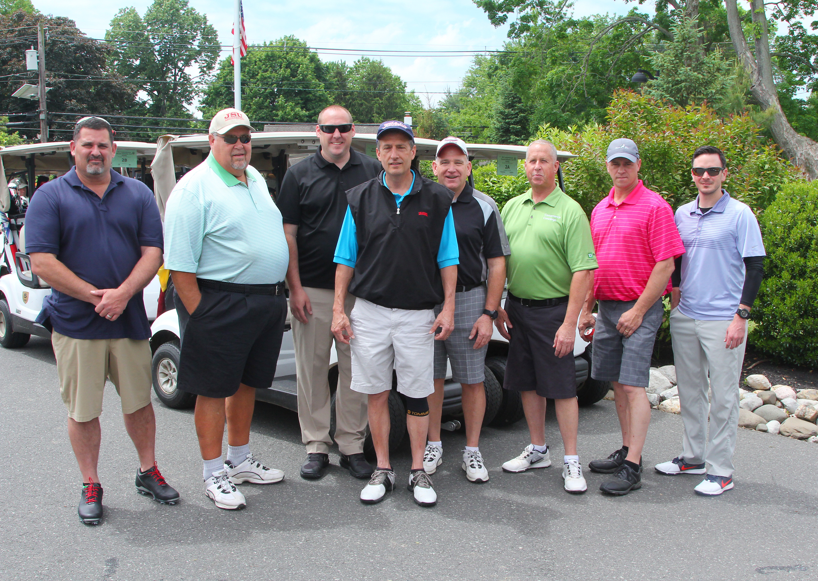 Wayne P. DeAngelo Golf Outing, May 24, 2017, Mountain View Golf Club. L-R, Insulators Local 89- Mike Perri, Ed Fedorko, CJ Gesemyer, Fred Dumont, Dave Cicchino, Jeff Pageau, Brian Tumler, and non union friend, Matt Murphy.