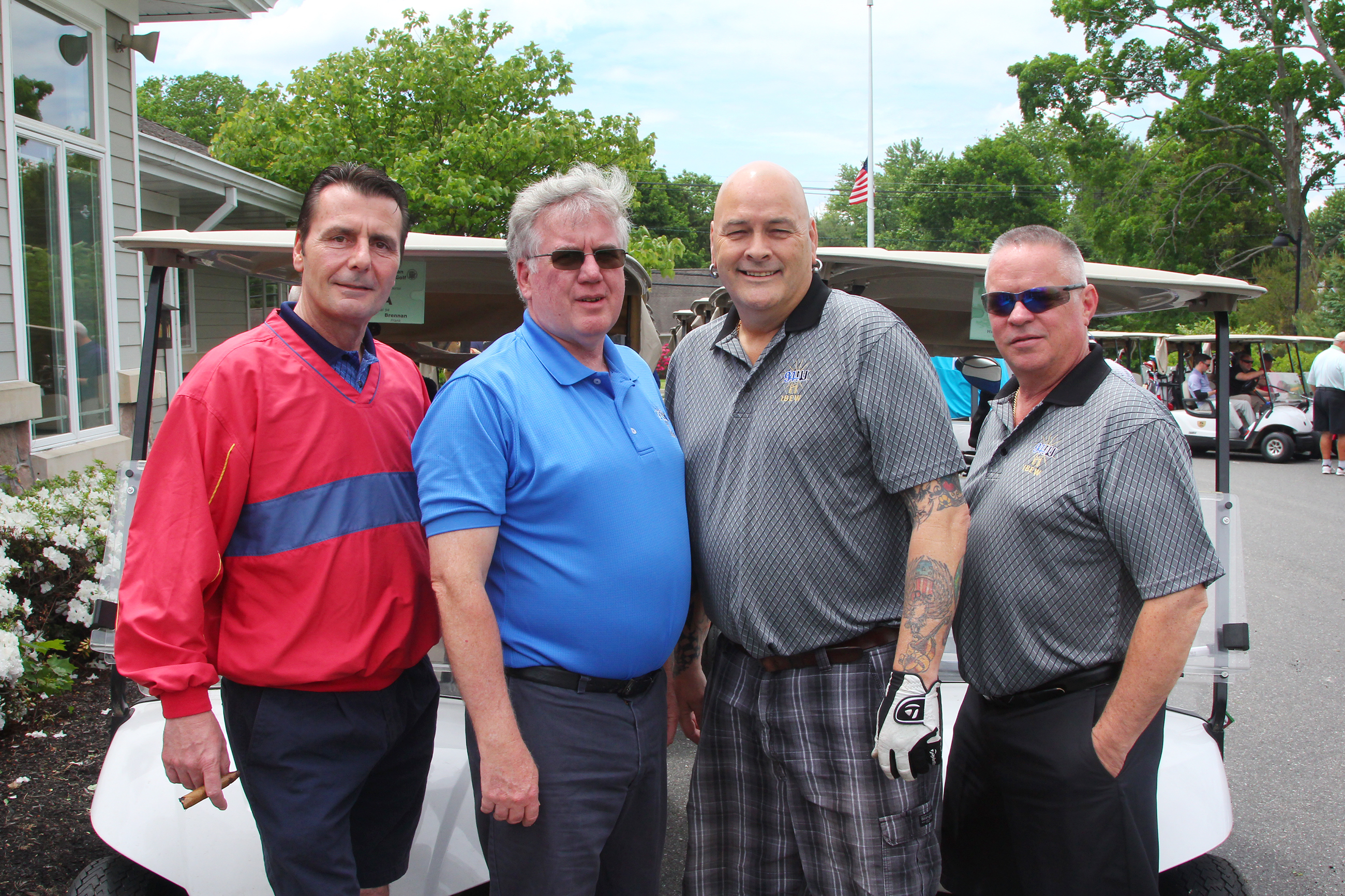 Wayne P. DeAngelo Golf Outing, May 24, 2017, Mountain View Golf Club. IBEW local 94 L-R, Bud Thoman, Frank Brennan, Moe Hufsey and Bob Weber.