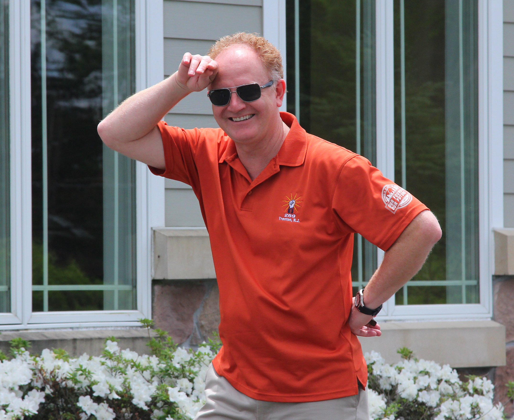 Wayne P. DeAngelo Golf Outing, May 24, 2017, Mountain View Golf Club. Wayne DeAngelo gets a kick out of watching golfers race to their tees as did everyone nearby.