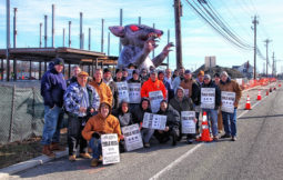 Iron workers from local 399 and 351 along with various other trade unions, such as local 711 and local 5 BAC picket the construction of a new medical building on the site of the old Olga's diner in Marlton  -intersection of rts 70 and 73, for the use of out of state non Union wotkers.