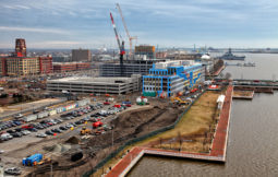 An ambitious $830 million plan to transform Camden's waterfront is underway - a four phase project of improvements to the waterfront park, including a new HQ for American Water Company, a hotel, commercial retail space, residential units, parking spaces,  a new ferry stop near the Ben Franklin Bridge, and two new roads at a cost of around 830 million dollars.