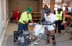 Local 592 Cement Masons Union, training facility Gloucester City, host,  Train the Trainers: Overlay and Concrete to Concrete Polishing. Here , l-r, Dave Feron from local 534 Boston instructs Stephen Buonopane, Local 535 Boston on the use of the Concrete Polisher manufacted ny LAVINA