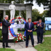 Peter J. McGuire Memorial at Arlington Cemetery, Pennsauken 124th annual Wreath Laying Ceremony. Here, L-R,  NJ  Governor Phil Murphy introduces Congressman Donald Norcross, At right is US Senate Bob Menendez