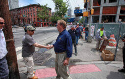 Jersey City, NJ  265 Grand Street, Site of Non-union work with safety concerns. Rich Tolson, Director of District Council New Jersey, thanks Joel Posas, a local 4 brick layer for supporting the protest.