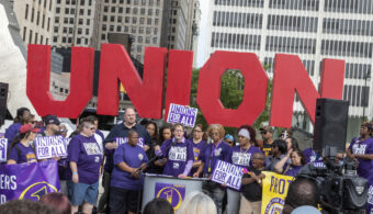 July 31, 2019, Detroit, Michigan, USA: Detroit, Michigan - Security guards at downtown buildings owned by businessman Dan Gilbert rally at the Labor Legacy monument as part of their campaign for a union. They are organizing with Service Employees International Union Local 1. SEIU President Mary Kay Henry speaks to the crowd. (Credit Image: © Jim West/ZUMA Wire)