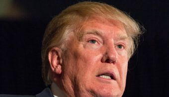 CHARLESTON, SC - FEBRUARY 22:  Reality TV host and New York real estate mogul Donald Trump speaks during the Republican Society Patriot Dinner at the Citadel Military College on February 22, 2015 in Charleston, South Carolina. Trump and U.S. Sen. Tim Scott (R-SC) were honored at the annual event.  (Photo by Richard Ellis/Getty Images)